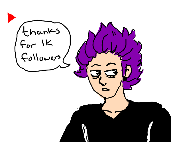 guy with purple hair thanks for 1000 follower