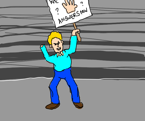 Man protests about his missing hand