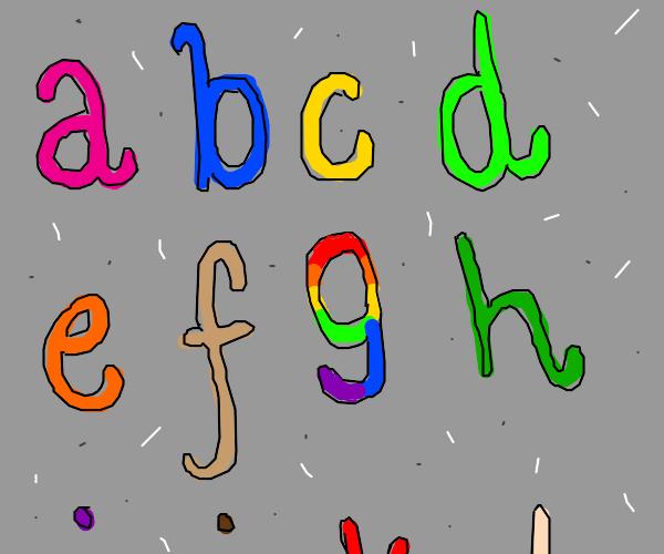 The alphabet but 7 is rainbow