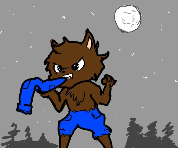 a werewolf eating pants