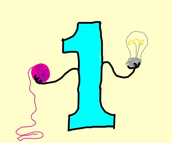 The number one holding a light bulb and yarn