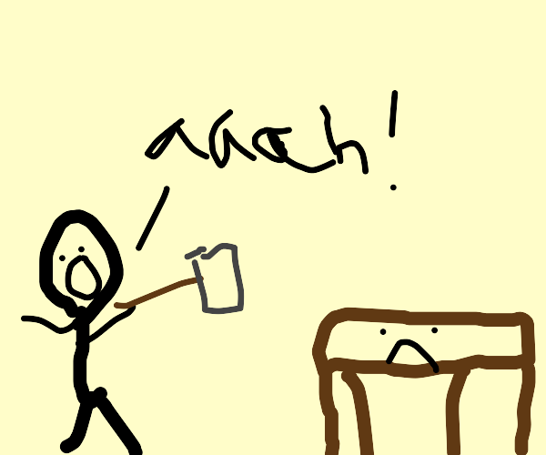 Man screams a table whilst holding hammer