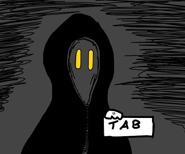 Cloaked figure steals tab key
