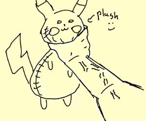 man strangles pikachu