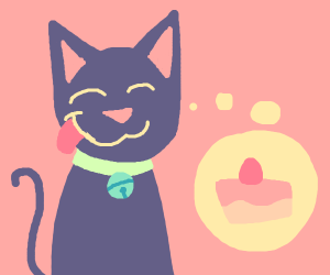 cat thinks about food