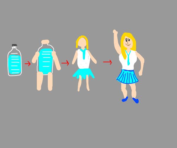 Water bottle turns into blonde schoolgirl