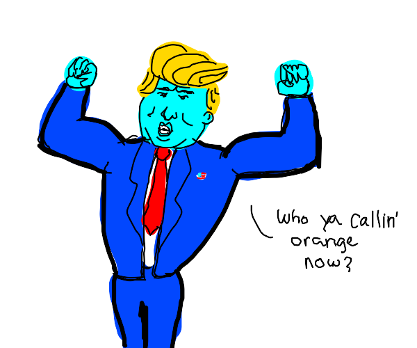 donald trump w/ blue skin flexing his muscles
