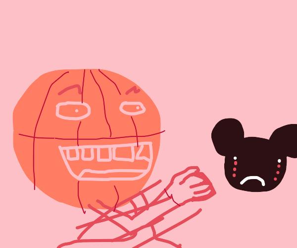 a basketball punching mickey mouse