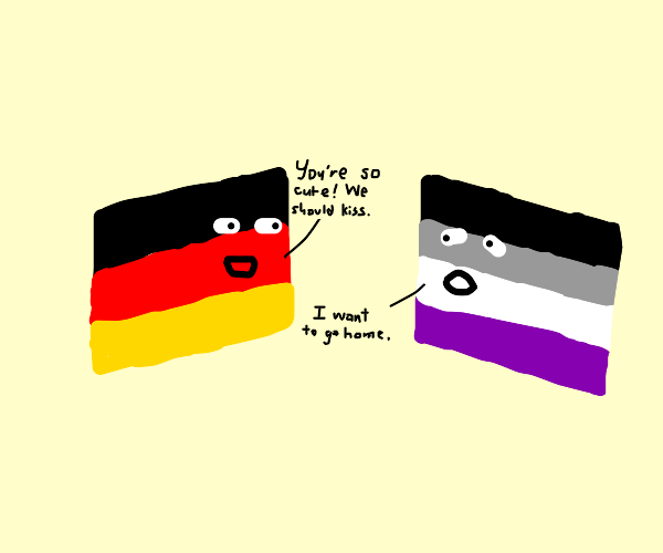 the german and asexual flags