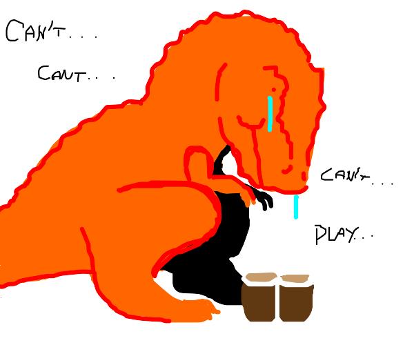 dinosaur playing bongos