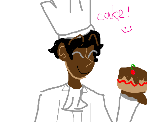 chef carrying a cake