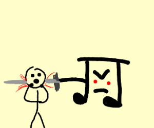 music note is attacking and killin little man