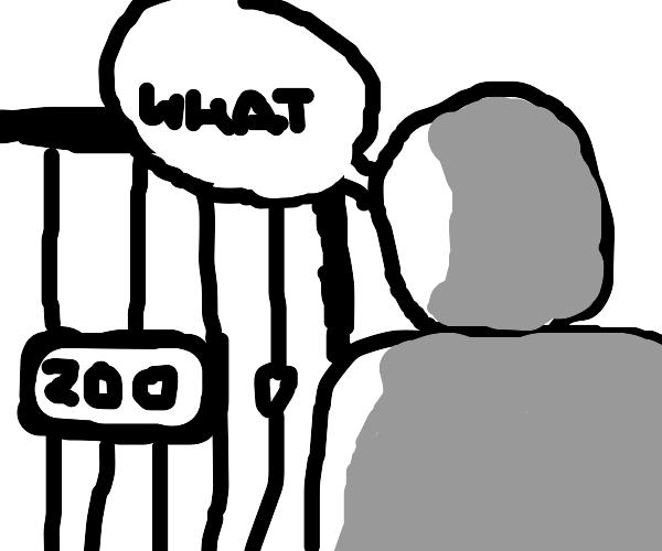 illiterate man visiting zoo