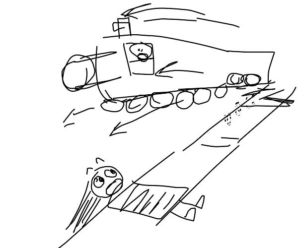 train jump off tracks to avoid killing damsel