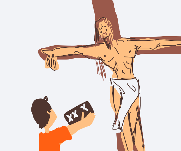 Man offers his X-Rated Book to Jesus Christ