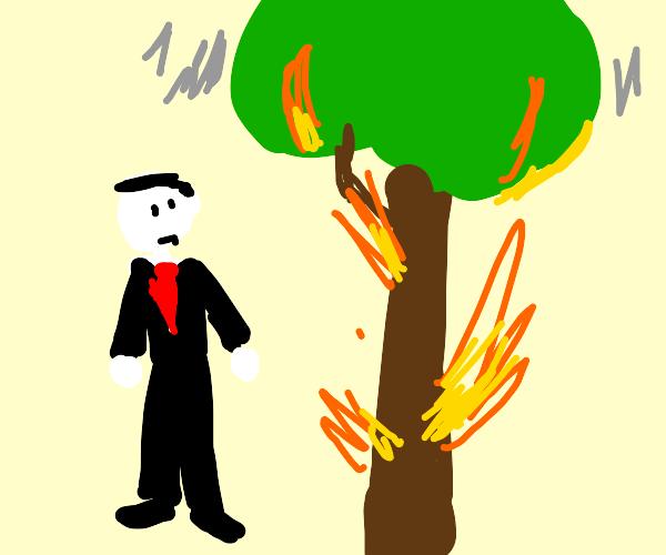 buisiness man next to a burning tree