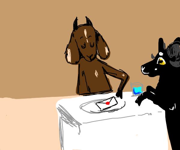Goat Serving an Envelope for Dinner