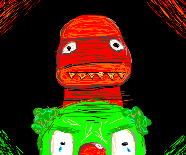 Red sock monster behind angry green clown