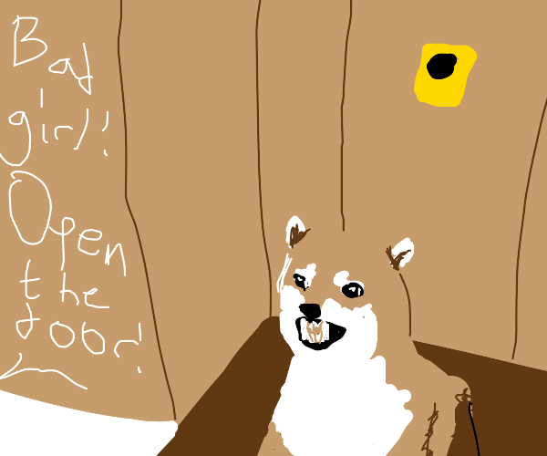 Dog girl being upset about opening the door