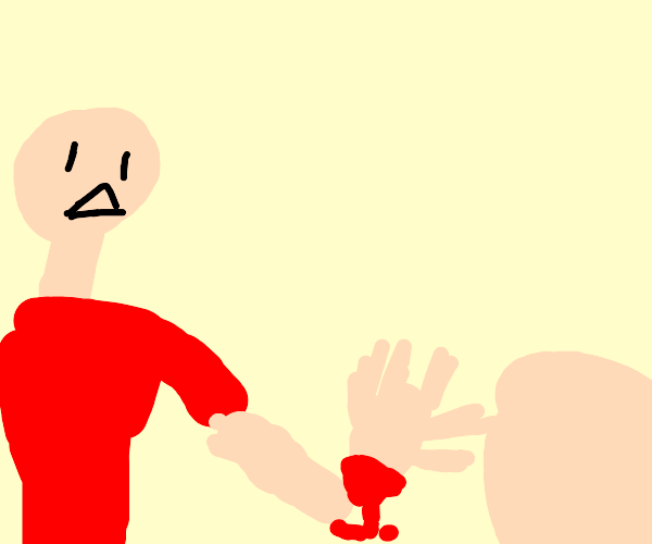 man giving severed hand to his son