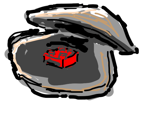 Clam with a Lego block pearl