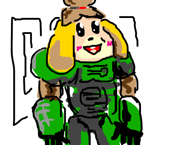 Isabelle Wearing Doom Guy Outfit Drawception