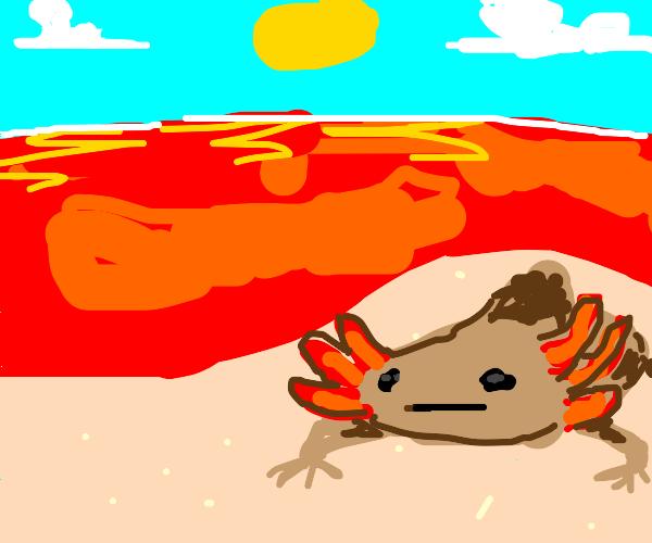 An axolotl next to a blood ocean
