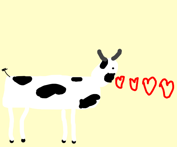 Cow breathes hearts