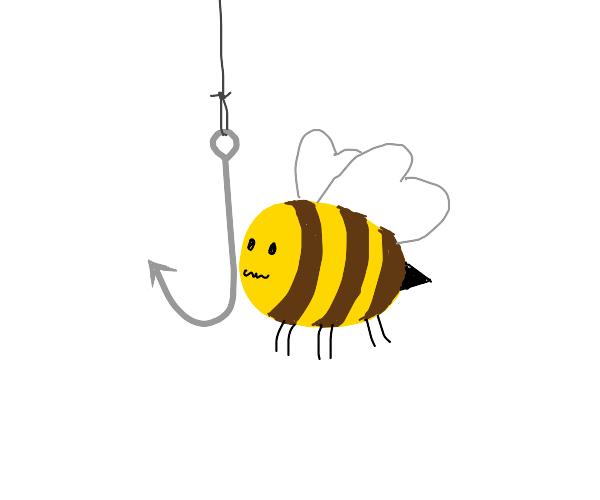 bee pushing a hook