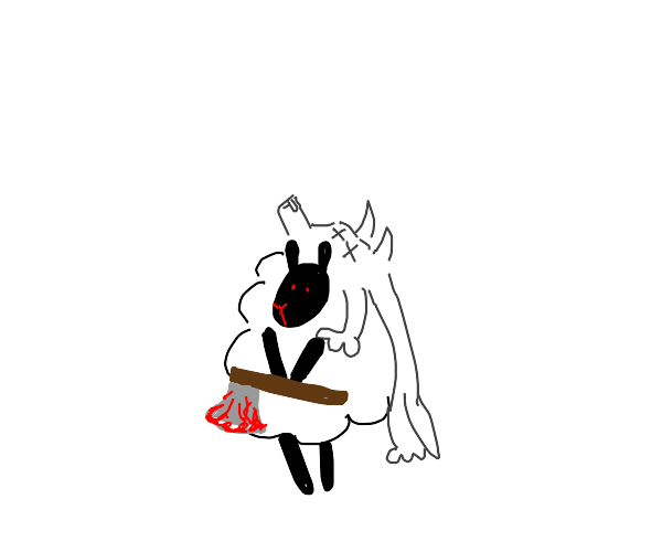 sheep in a wolf's skin with a bloody axe