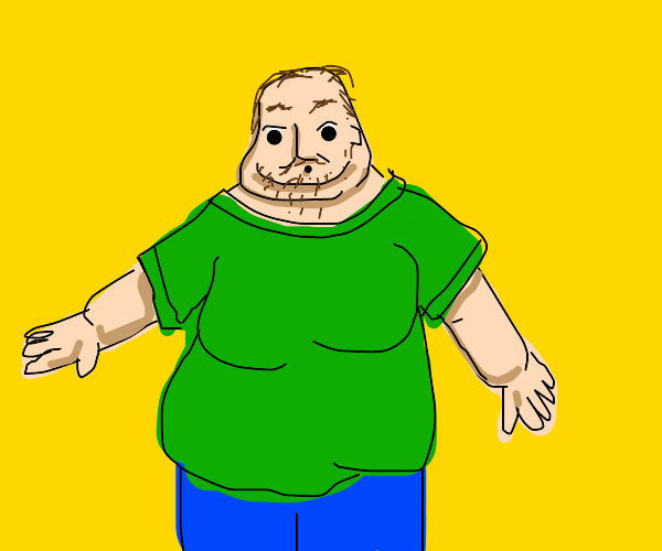 Guy with scraggly hair is fat