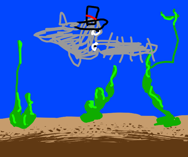 sawfish wearing a tophat