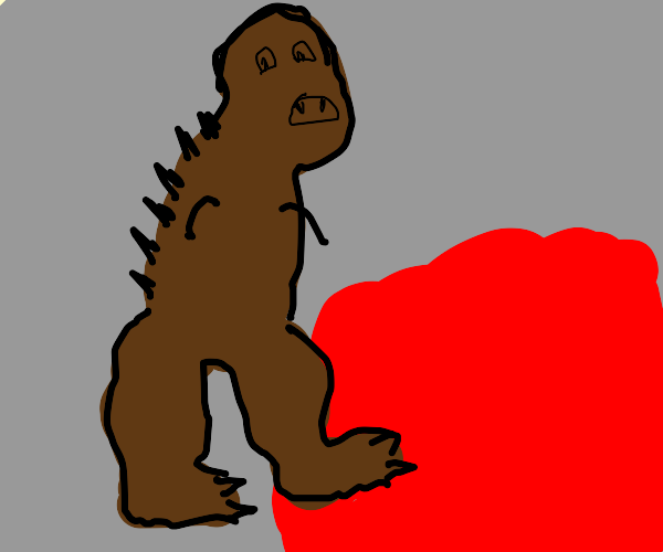 a dinosaur about to die cuz lava in a cave