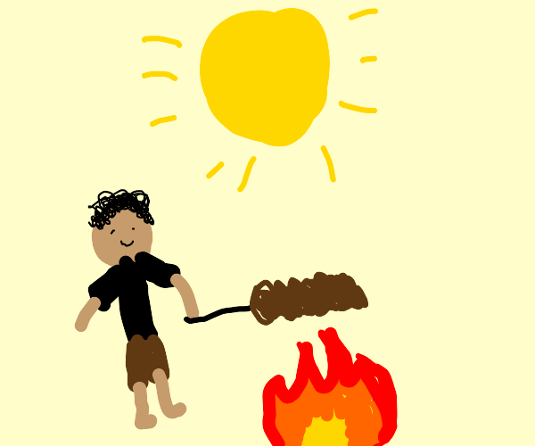 Man holding roast over fire