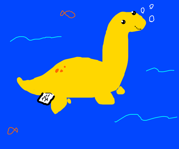 Yellow sea monster with a tag on its butt