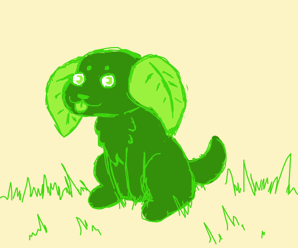 Green dog with leaf ears