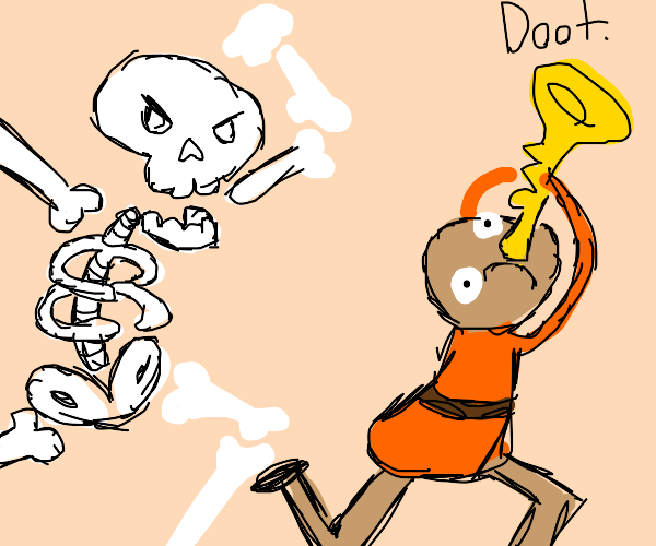 explorer steals skeleton's trumpet