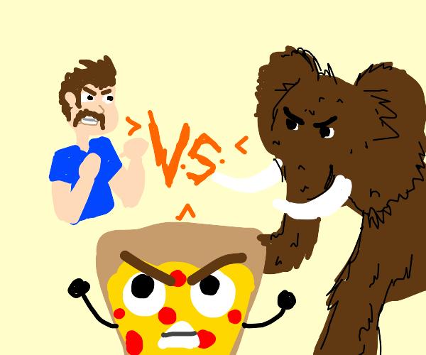 Mustache dude vs Mammoth vs Pizza Man