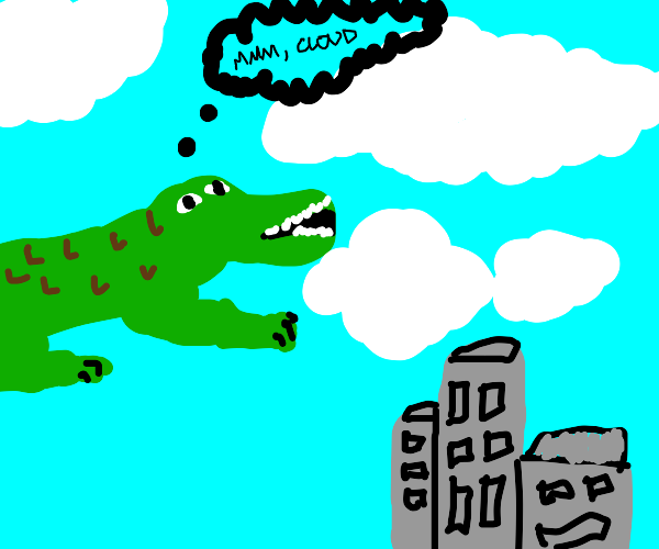 Giant alligator eating clouds