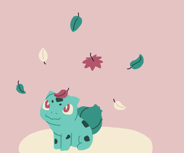 bulbasaur with leaves falling down on him