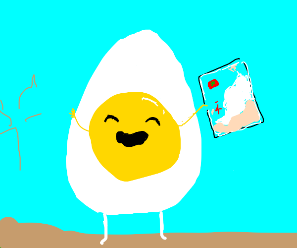 Enormous happy egg staring at map of Morocco