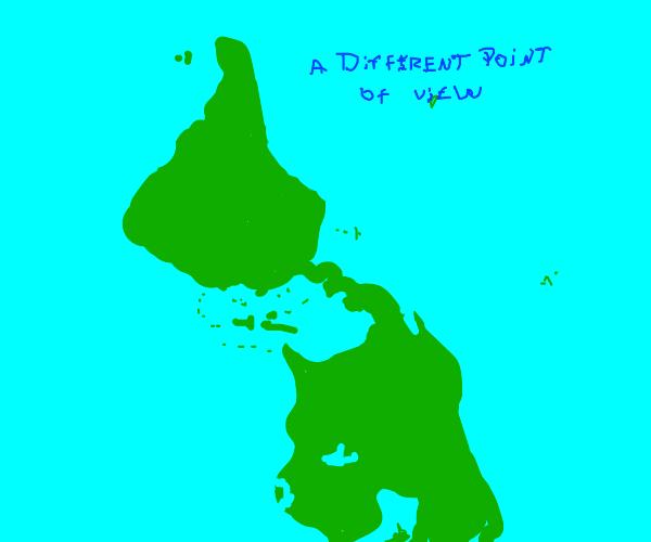 An upside down map