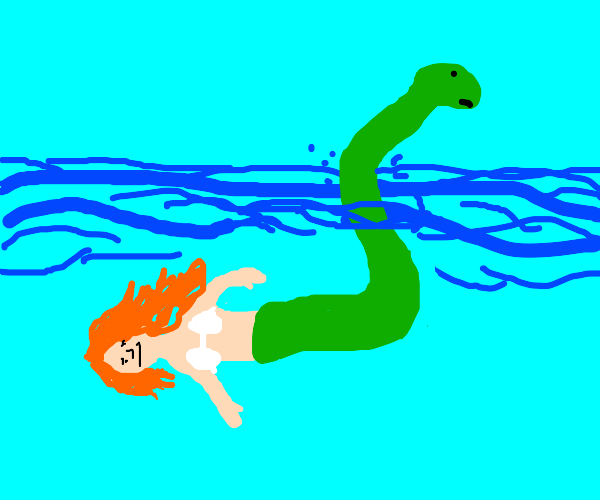Mermaid with looong Loch Ness tail