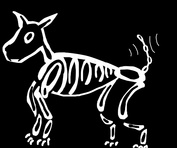 Skeleton dog wags tails