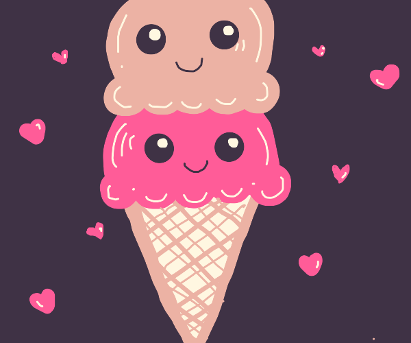 two scoops of smiling icecream