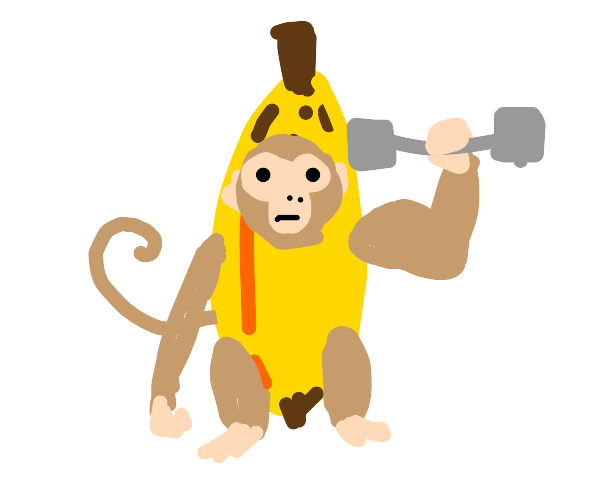 Strong monkey wearing a banana