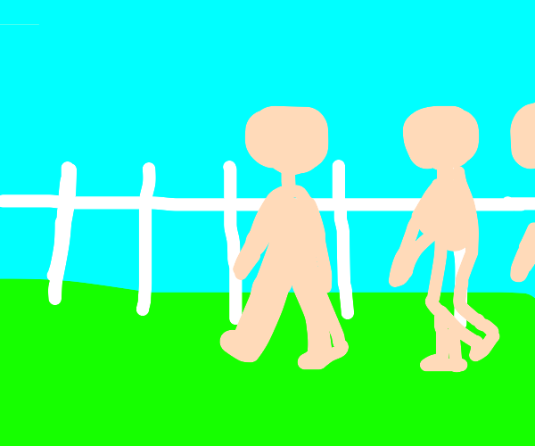 Naked people walk by white picket fence (SFW)