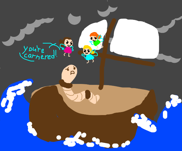 faires chase a worm in a boat