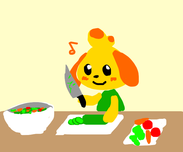 Isabelle makes a salad