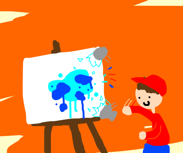 kid throws a lava lamp  on a canvas